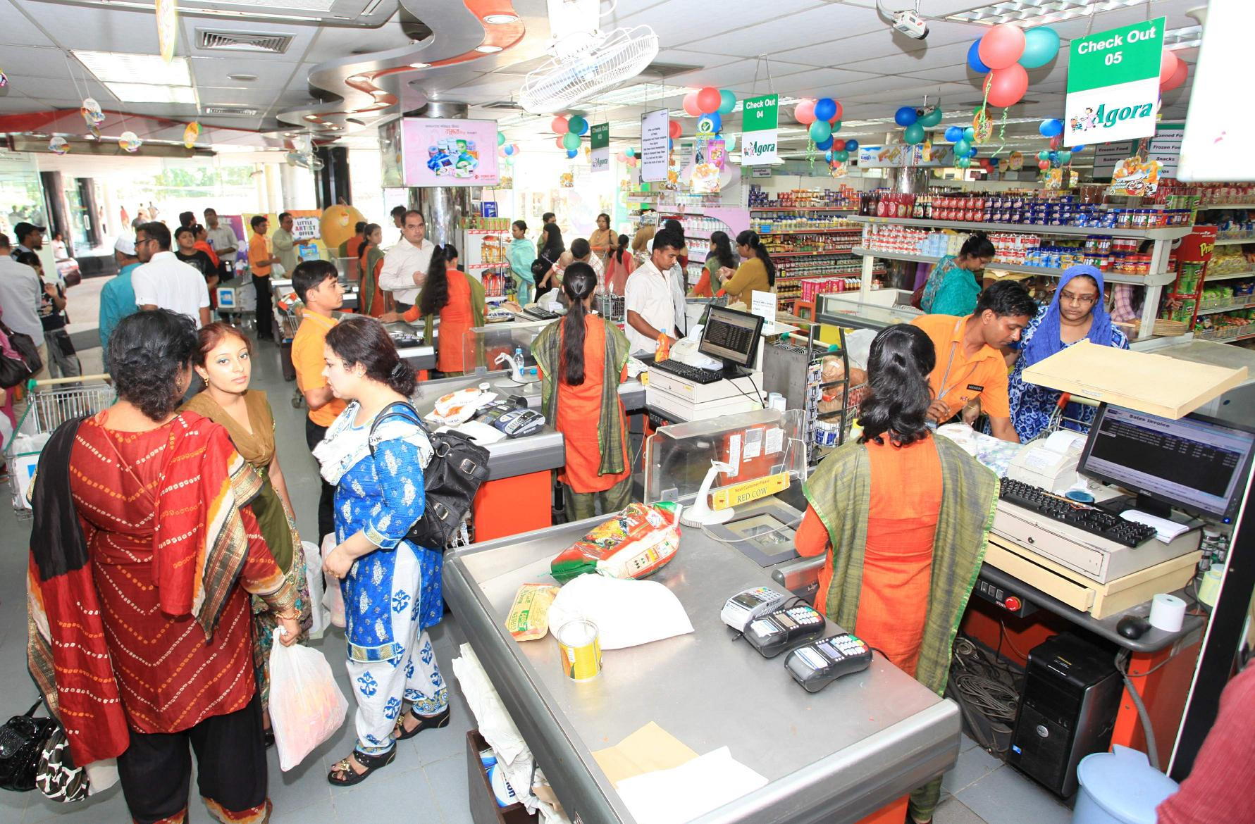 agora leading super shop in bangladesh More than 1300 people are working in this retail chain shop they are making varieties of products day by day that we call it little walmart in bangladesh the opening hours of this superstores outlets varies place to place.