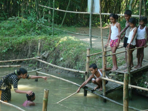 Rescue skills. Photo courtesy of Centre for Injury Prevention and Research, Bangladesh