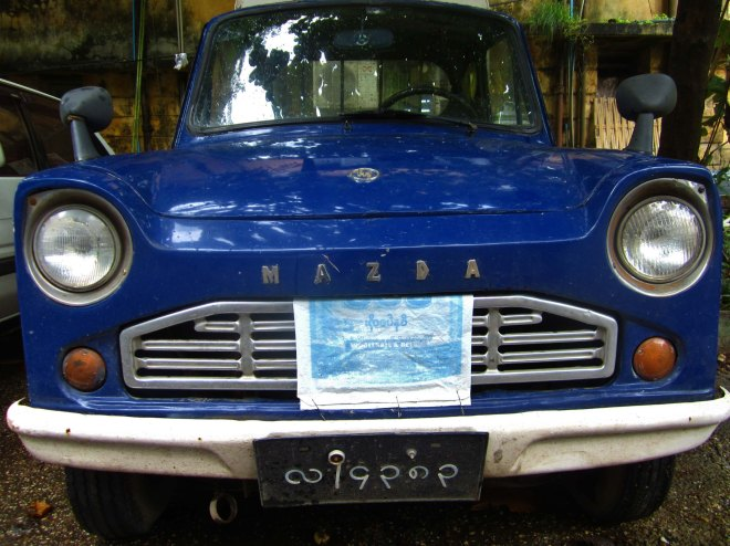Yangon has an eclectic mix of vehicles - like this gorgeous vintage Mazda