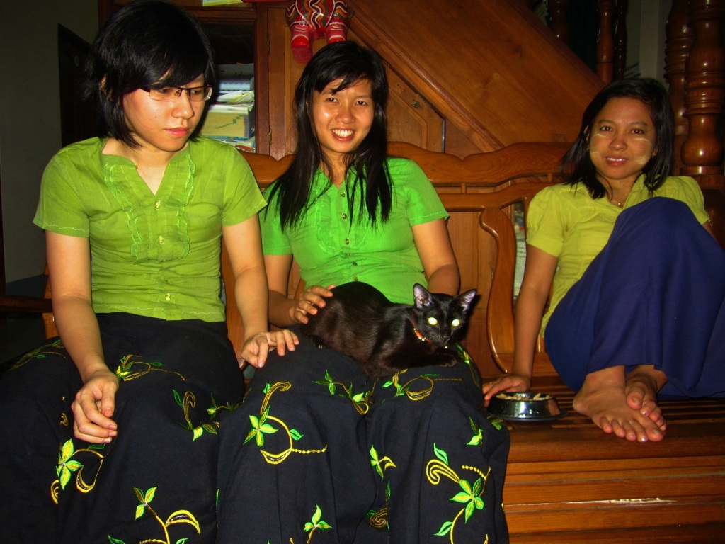 My cat Butters with staff at Motherland Inn II in Yangon