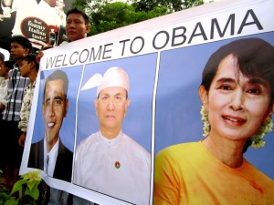 A sign at Yangon airport the morning Obama landed in Yangon