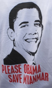 A t-shirt worn by someone welcoming Obama at Yangon airport on 19 November 2012
