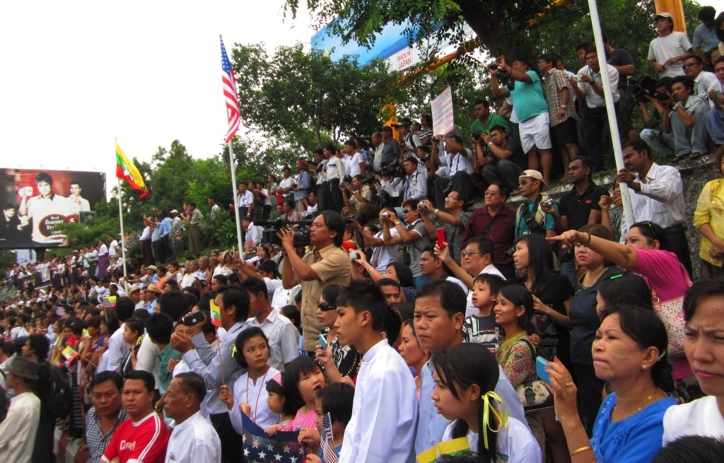 Outside Yangon International Airport, which was closed for an hour