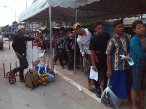 The queue for the Thai immigration office.