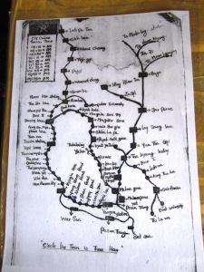 A copy of the Yangon circle line map, which a volunteer at Yangon Central Station  gave me.