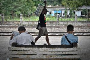 Passengers waiting for a circle line train to arrive. PHOTO Kaung Htet/The Myanmar Times