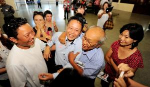 Sonny Swe at Yangon Airport. Photo: Ko Taik/The Myanmar Times