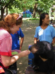 Feeding a beer at Yangon Zoo