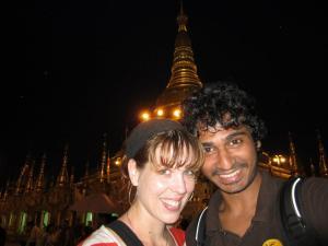 My husband and I at the Shwedagon Pagoda in Yangon