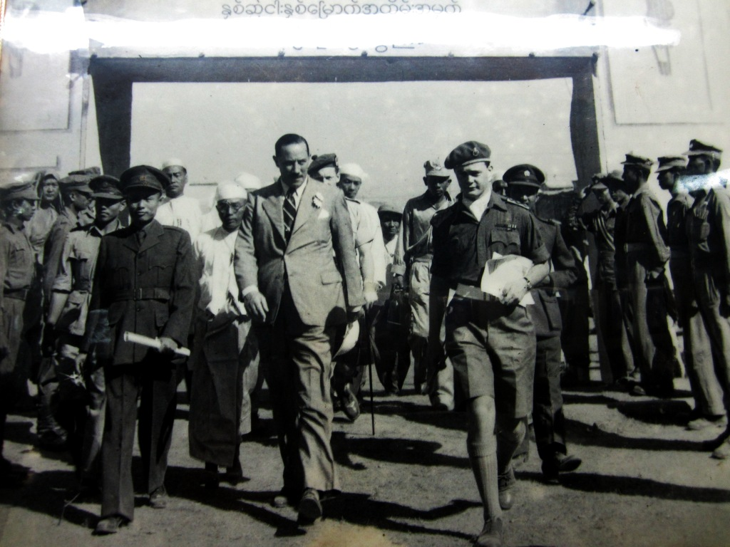 US Senator Herbert Grant accopanies the father of the nation, Aung San - pictured left - to attend  an exhibition marking the 25th anniversary of Myanmar cinema.