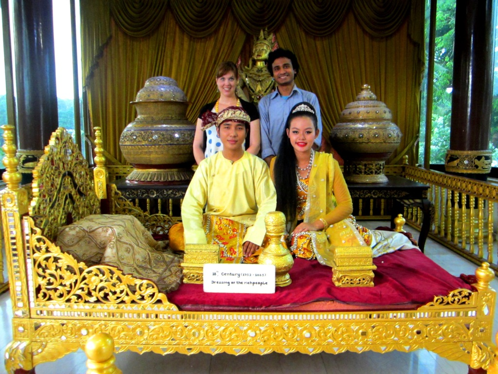 My husband and I with traditional Burmese dance performers at Karaweik Palace