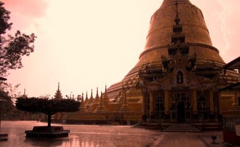 Rain falling on Shwemawdaw Pagoda