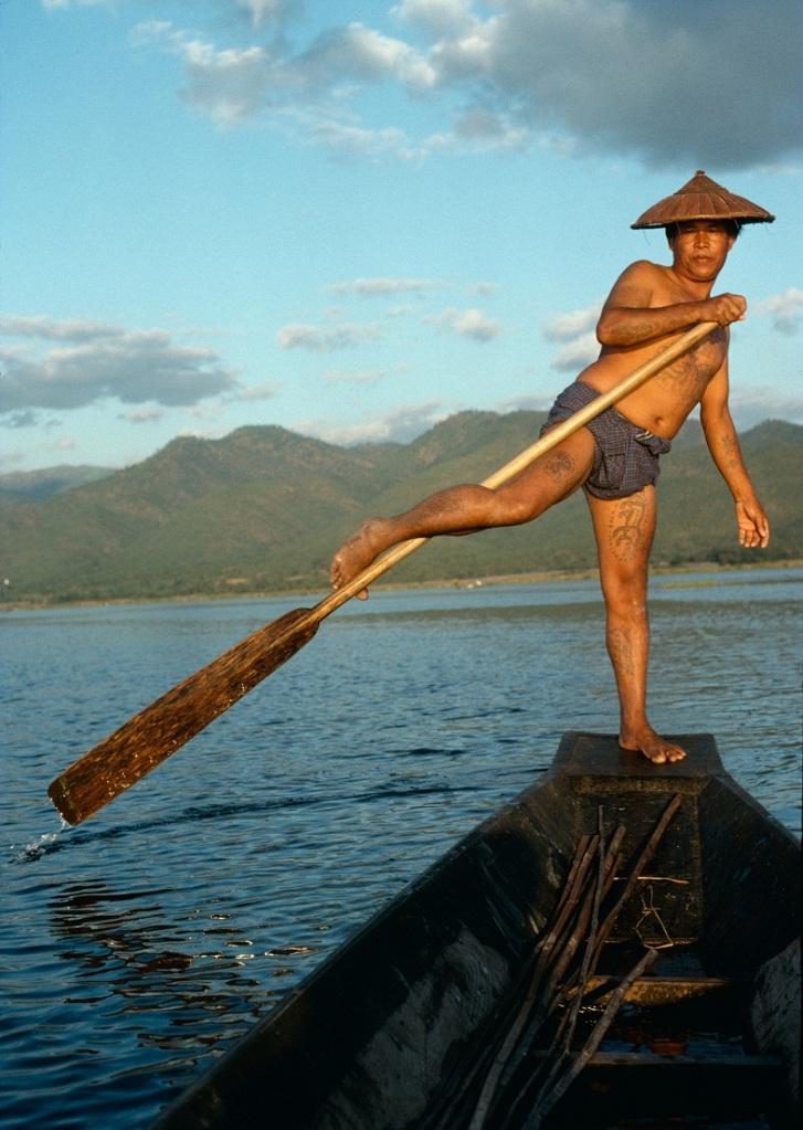 FLOATING HISTORY: An Intha fisherman at Inle Lake in Shan state, 1995. Photo: Richard K. Diran