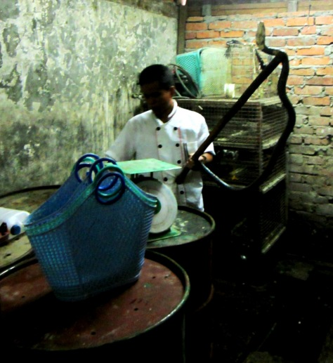 A cobra selected for the kitchen at San Chuan Restaurant in Yangon.