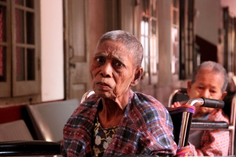 An elderly woman at the Home for the Aged Poor in Yangon