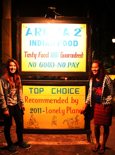 Mr Raju's daughter Chadni on left, with a waitress