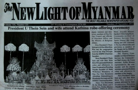 A November 2012 edition of the state-run New Light of Myanmar