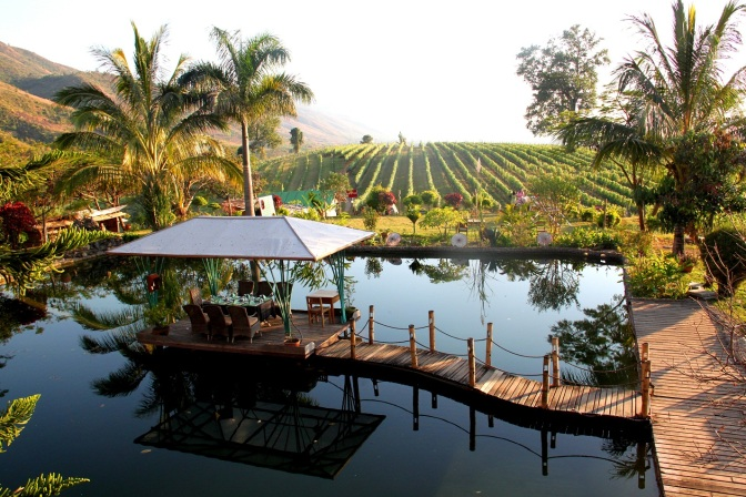 View from the Sunset Garden Restaurant - Myanmar 1st Vineyard, Aythaya wine