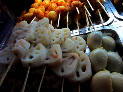 Lotus root, quail eggs and seasoned potatoes are some of my favourite barbequed snacks