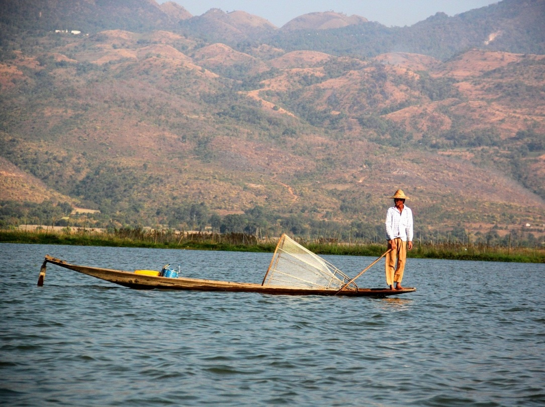 An Intha fisherman on Inle Lake