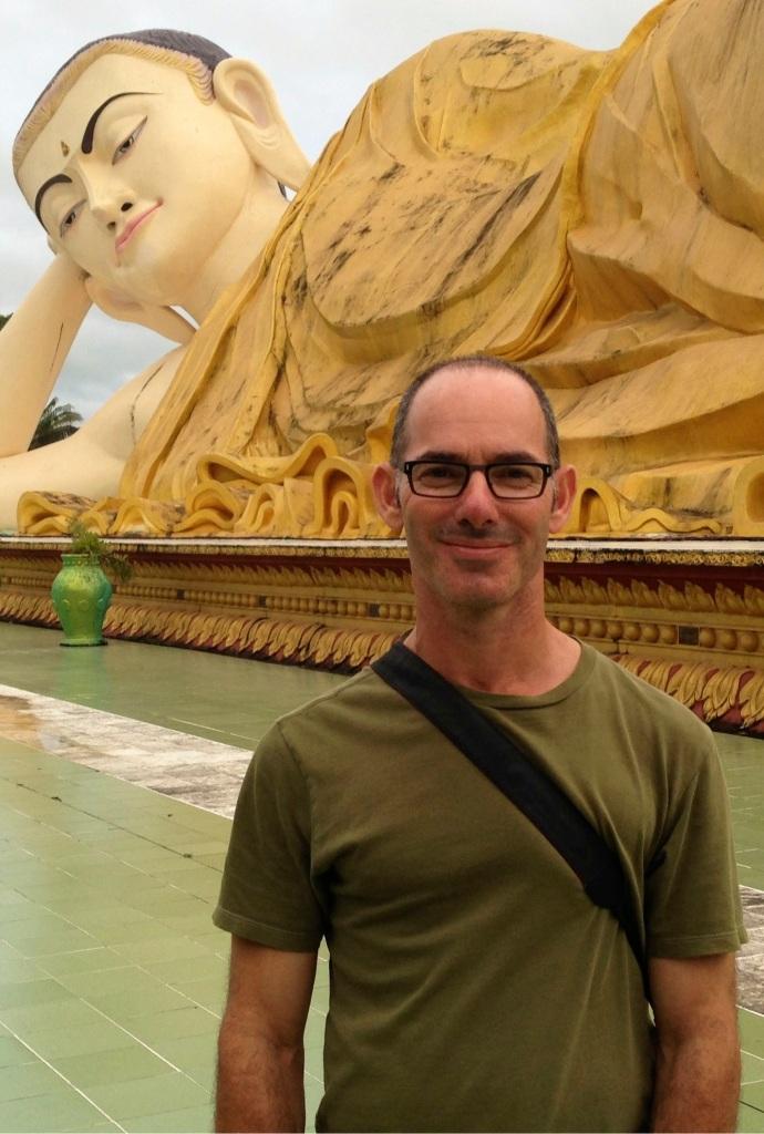 Simon Richmond at Naung Daw Gyi May Tha Lyaung Reclining Buddha in Bago.