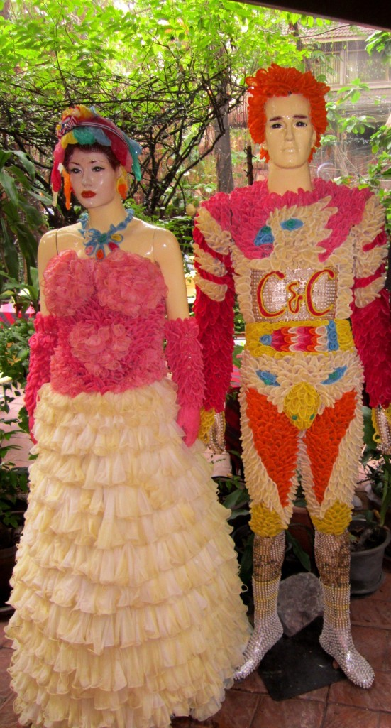 These mannequins are dressed entirely in condoms! Cabbages and Condoms Restaurant Bangkok