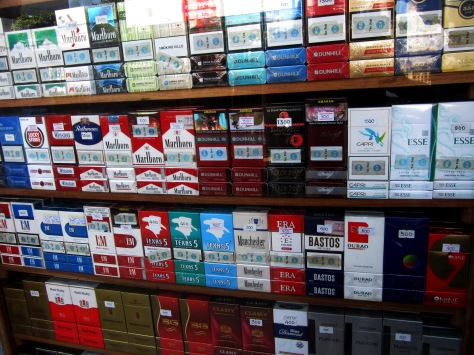 Yangon's wide variety of cigarettes on sale