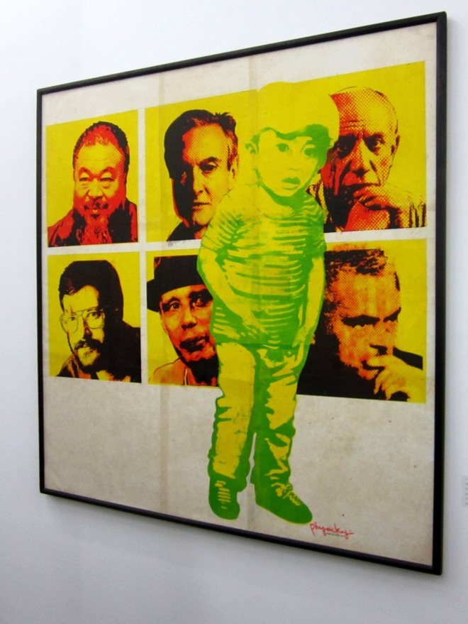 Phyoe Kyi's silkscreen on Shan paper and canvas at Transit Shed 1