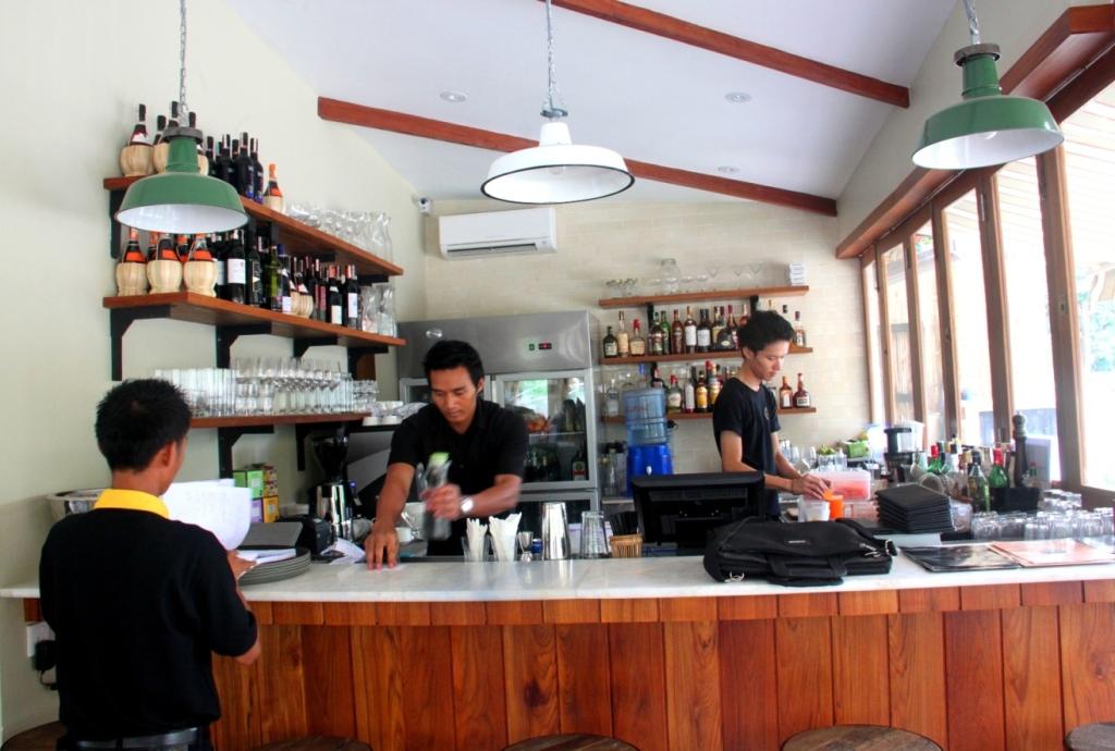 Bar staff serving up liquid treats