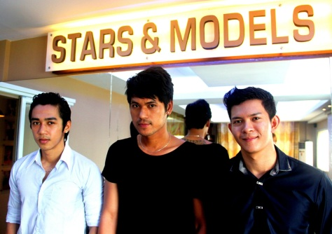 Models Kaung Sit Thway (left), Hpone Thaik (middle) and Kyaw Ko Ko Wai (right)