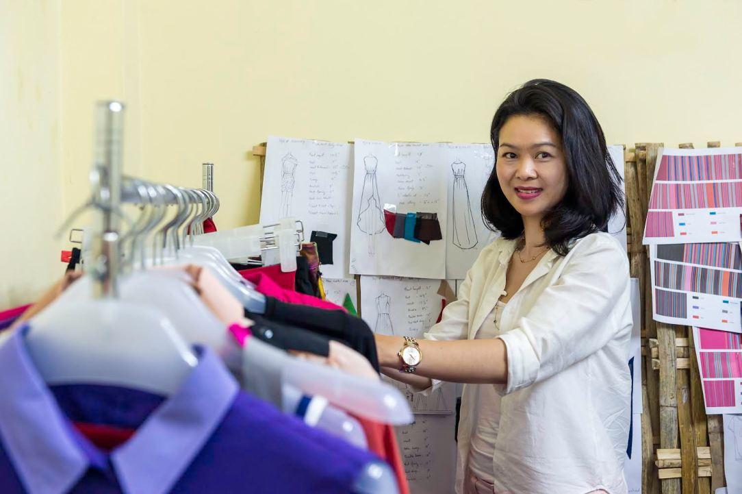 Mo Hom in her Yangon studio