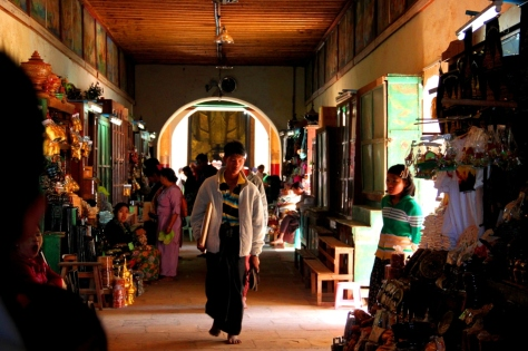Stores selling Buddhist trinkets and the like line the inside of Bagan's most popular temple entrance walkways
