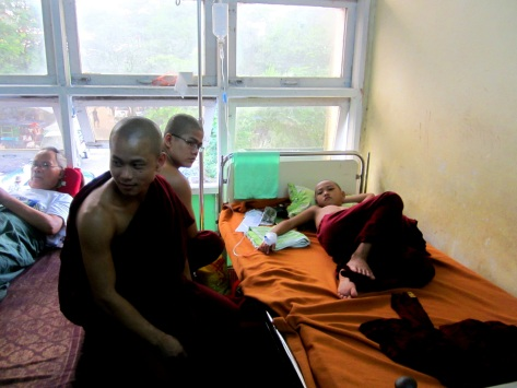 A young monk receives treatment at North Okkala General Hospital in Yangon