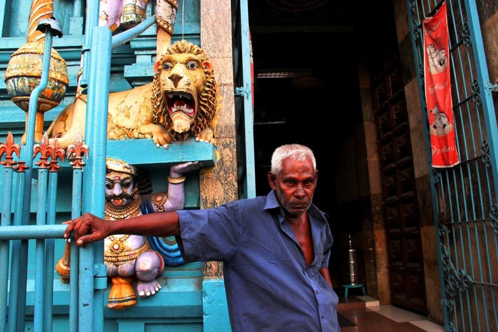 A Hindu temple caretaker in Colombo