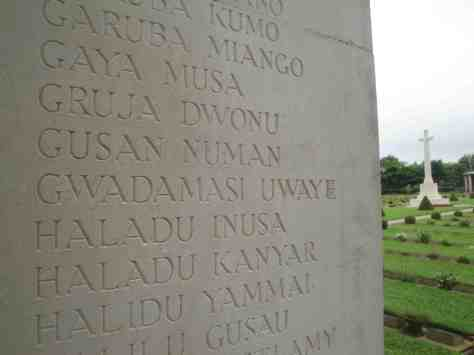 Nigerian names on the War Memorial at the Taukkyan Cemetery outside Yangon. Photo courtesy of Barnaby Philips