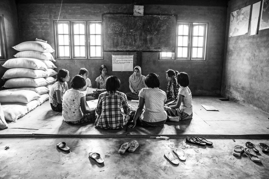 """A Girl Determined """"circle"""" at an orphanage outside of Yangon. Most of the girls here have come from Karen state fleeing violence and poverty. Photo: Andrew Stanbridge"""
