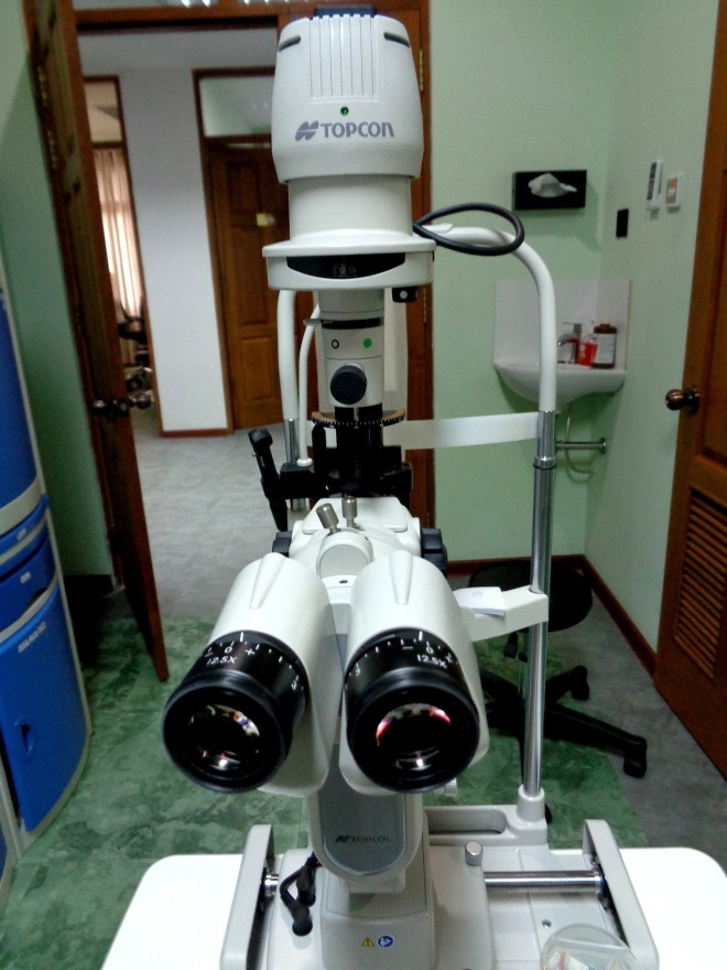 Eye-test equipment at Myanmar Eye Centre