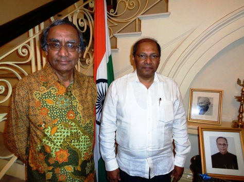 Mr Rajiv Bhatia with Mr Shri Gautam Mukhopadhaya, India's 21st Ambassador to Myanmar at India House in Yangon.