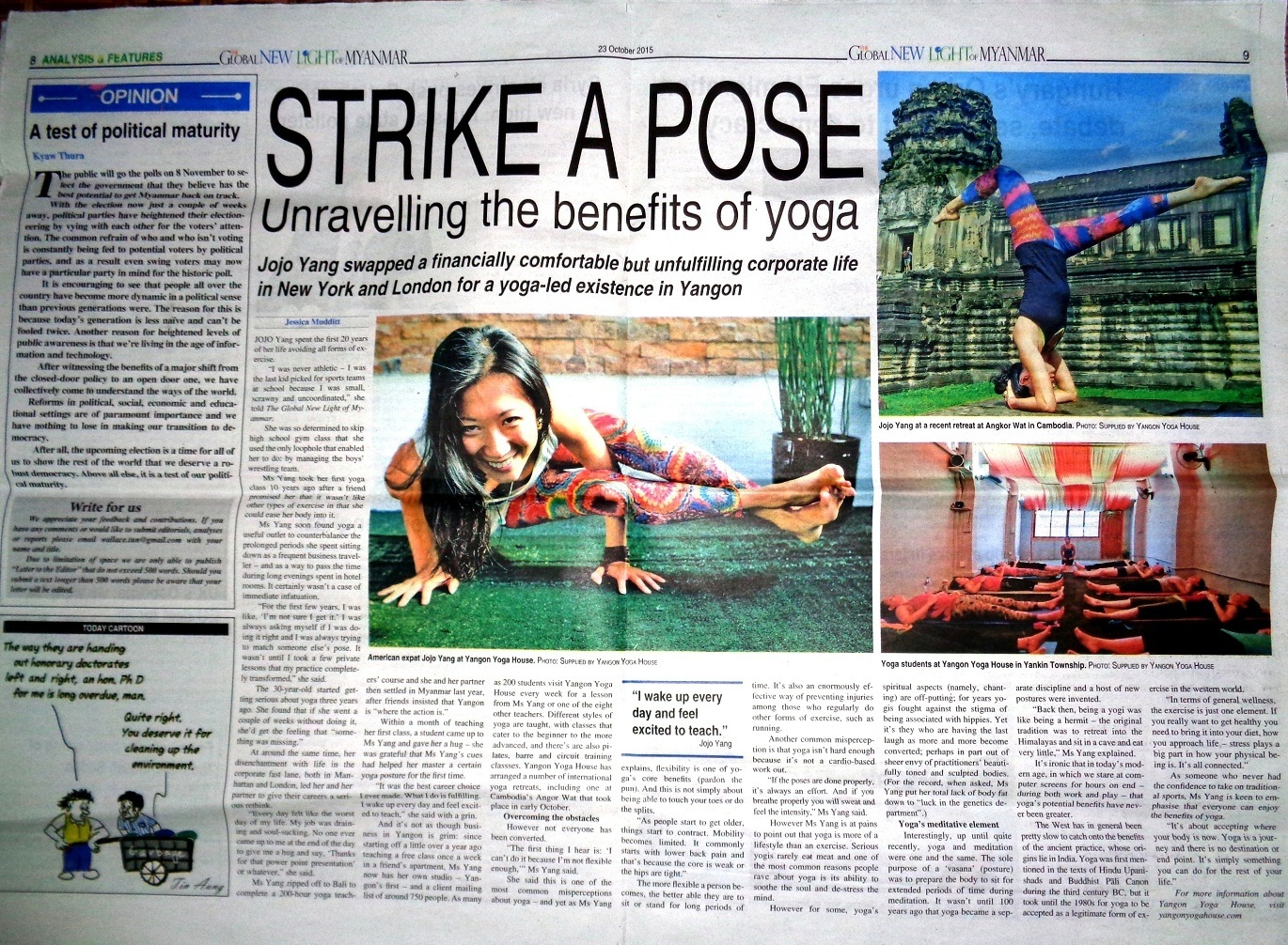 As featured in The Global New Light of Myanmar - the first spread ever to grace its pages!