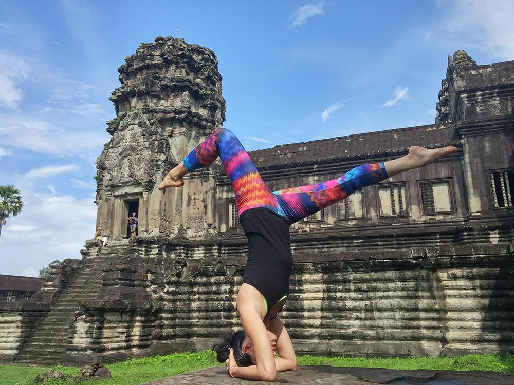 Jojo Yang at a recent retreat at Angkor Wat in Cambodia. Photo supplied by Yangon Yoga House