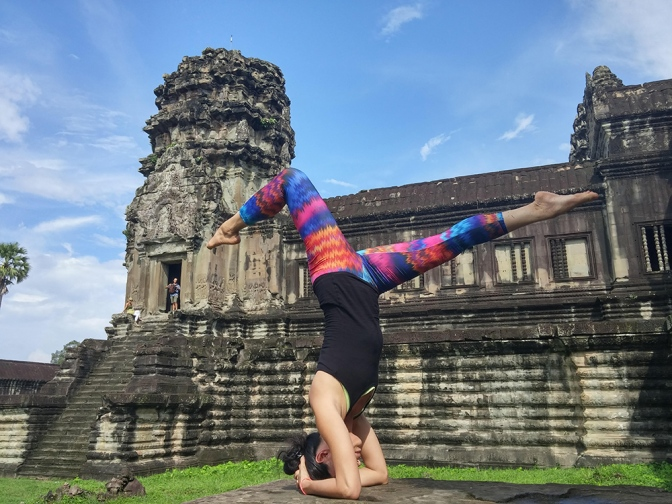 Jojo Yang at a recent retreat at Angkor Wat in Cambodia. Photo supplied by Yangon Yoga House