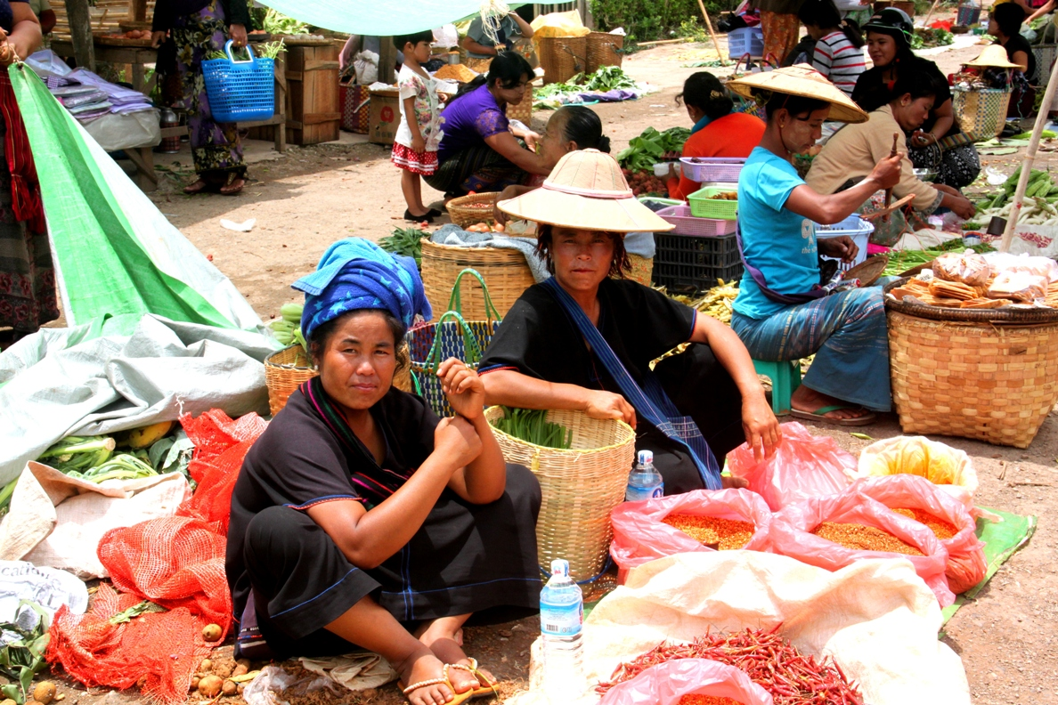 An abundant array of spices are sold at Kalaw market
