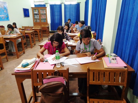 Students at CVT's learning centre in Yangon
