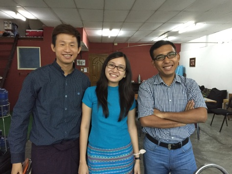 Project Hub team (L-R) - Kyaw Ye Min, Myat Kay Khine Hsint, Kaung Myat Kyaw. Photo: Richard Edwards