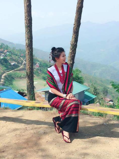 Miss Universe Myanmar in Chin fabrics. Photo: Moe Sat Wine/Facebook
