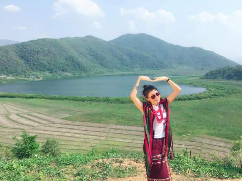Miss Universe in Chin State - showing off the fabrics. Photo: Moe Sat Wine/Facebook